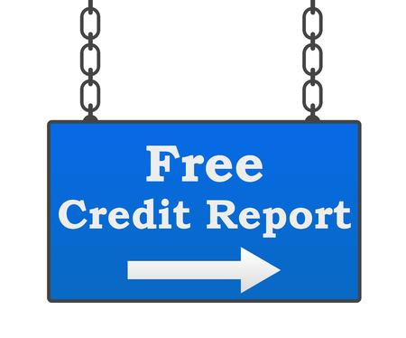 credit report: Free Credit Report Signboard Stock Photo