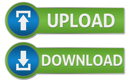 two point: Upload Download Blue Green Buttons