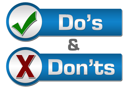 dos: Dos Donts Blue Grey Button Style Stock Photo
