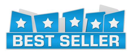 seller: Best Seller Blue Squares On Top Stock Photo