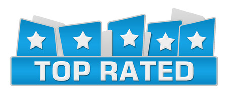rated: Top Rated Blue Squares On Top Stock Photo