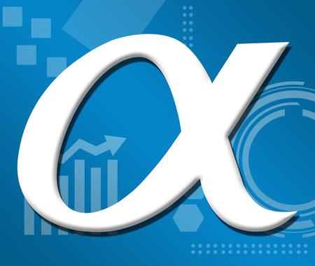 alfa: Alpha Symbol Over Technical Business Background