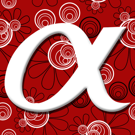 gamma: Alpha Symbol Over Red Black Floral Background