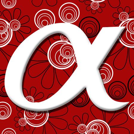 alfa: Alpha Symbol Over Red Black Floral Background