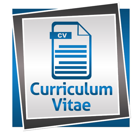 vitae: Curriculum Vitae Blue Grey Square With Icon Stock Photo