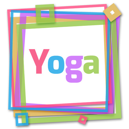 therapie: Yoga Text In Colorful Frame Stock Photo