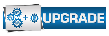 blue grey: Upgrade With Gears Blue Grey Horizontal Stock Photo