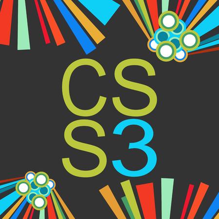 css: CSS 3 Dark Colorful Elements Stock Photo
