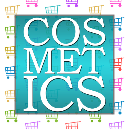 beautification: Cosmetics Shopping Cart Background Stock Photo