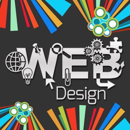 Web Design Dark Colorful Elements Square Stock Photo