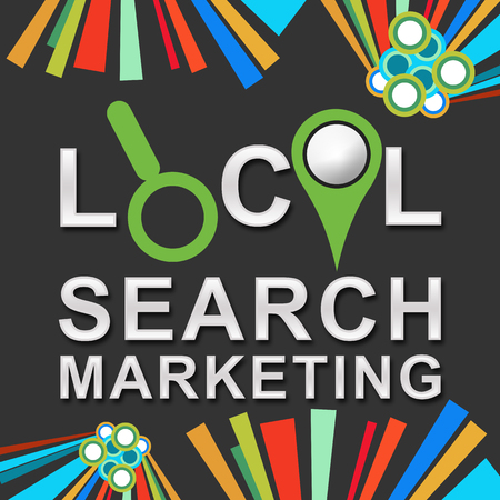 targeted: Local Search Marketing Dark Colorful Elements Stock Photo