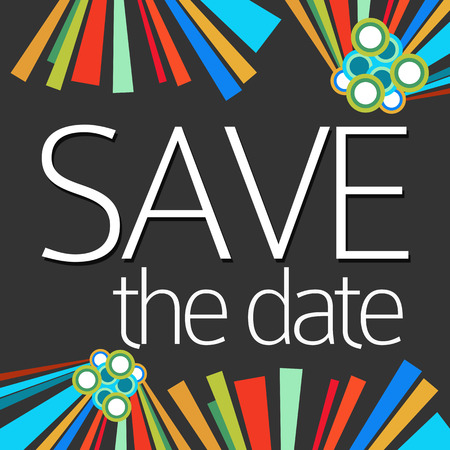 event planning: Save The Date Dark Colorful Elements Stock Photo