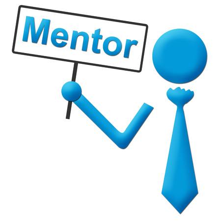 mentor: Mentor Human Holding Signboard Stock Photo