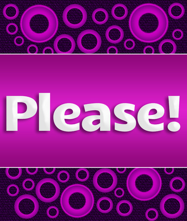 beg: Please Text Over Purple Ring Background Stock Photo
