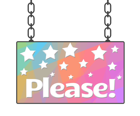 begging: Please Text Colorful Signboard Stock Photo