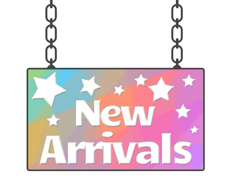 arrivals: New Arrivals Colorful Signboard Stock Photo