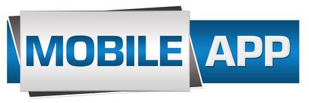 mobile app: Mobile App Blue Grey Horizontal Stock Photo