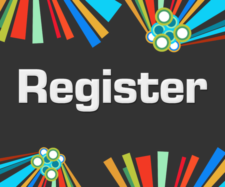 signup: Register Dark Colorful Elements Stock Photo