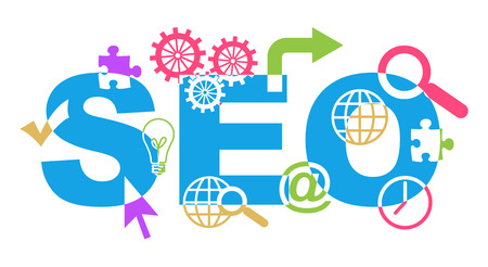 SEO Text With Shapes Colorful