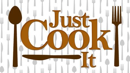 Just Cook It Brown Spoon Fork Knife Pattern
