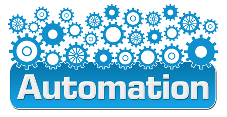 Automation With Blue Gears On Top Stock Photo