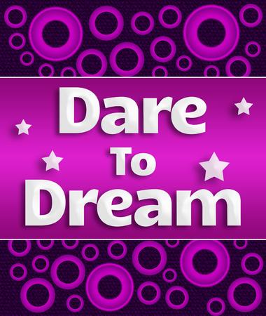 dare: Dare To Dream Purple Pink Rings Horizontal Stock Photo