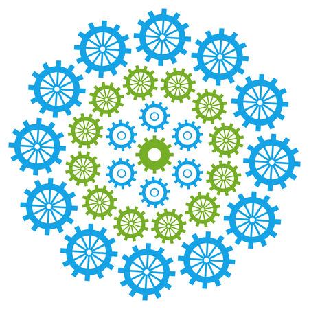 productivity system: Gears Circular Green Blue