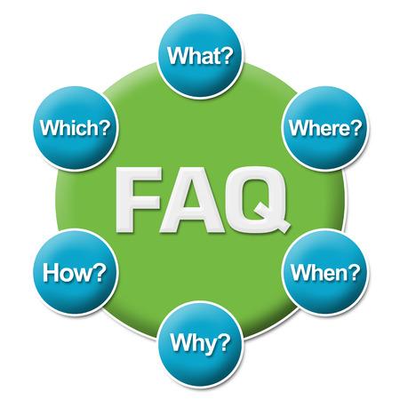 any: FAQ Questions Circular Stock Photo