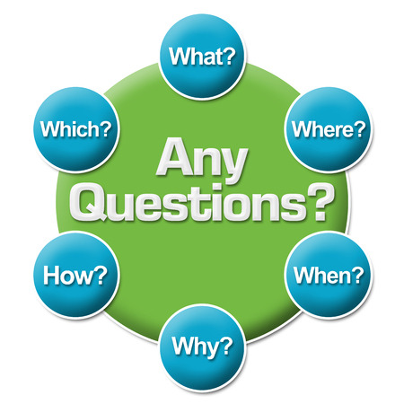 questions: Any Questions Questions Circular Stock Photo