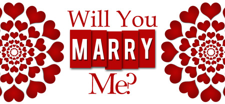 will you marry me: Will You Marry Me Red Hearts Stripes Horizontal