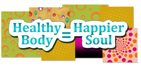 happier: Healthy Body Happier Soul Various Background Stock Photo