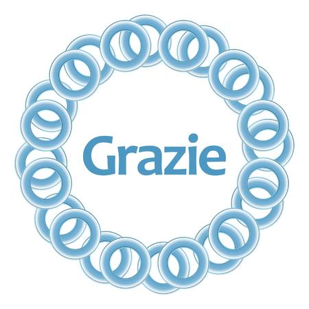 comunicación escrita: Grazie interior del texto anillos circulares azules