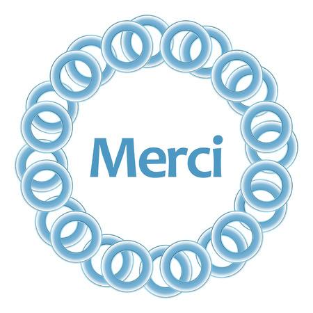merci: Merci Text Inside Blue Rings Circular Stock Photo