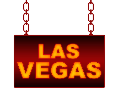 las vegas lights: Las Vegas Text Neon Signboard Stock Photo