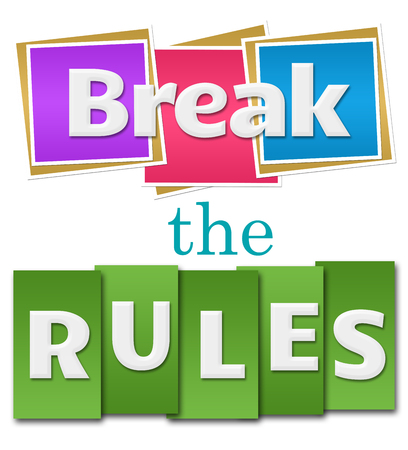 break the rules: Break The Rules Colorful Squares Stripes Stock Photo