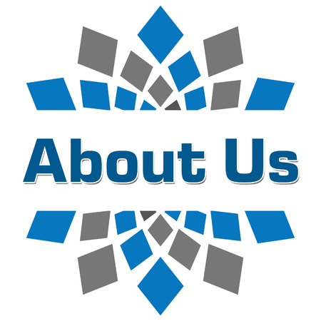 about us: About Us Blue Grey Square Stock Photo