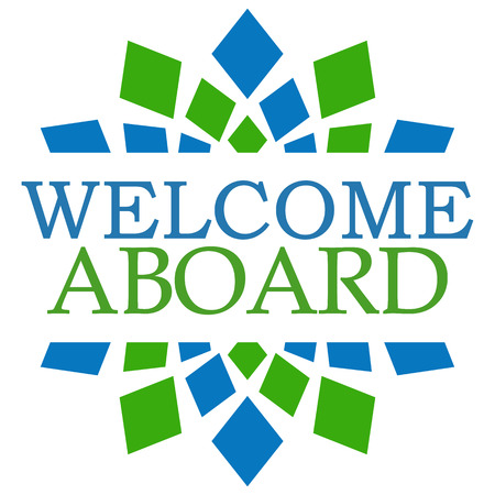aboard: Welcome Aboard Blue Green Square
