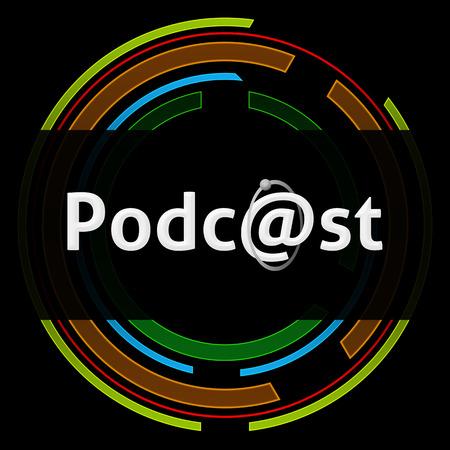 podcast: Podcast Technology Circle Black Stock Photo