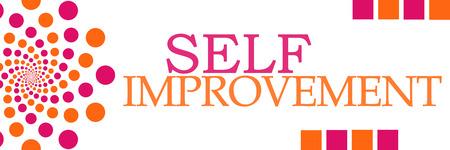self realization: Self Improvement Pink Orange Dots Horizontal Stock Photo