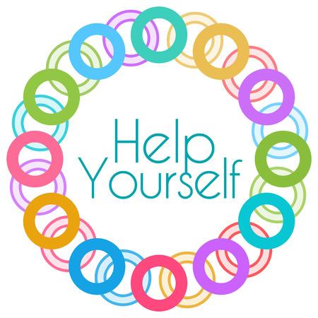 self realization: Help Yourself Colorful Rings Circular
