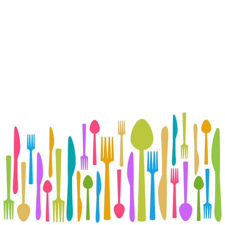 cooking utensils: Fork Knife Spoon Abstract Colorful Background
