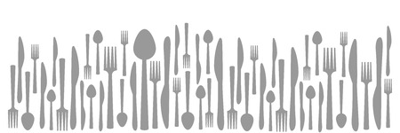 fork knife spoon: Fork Knife Spoon Abstract Gray Horizontal Stock Photo