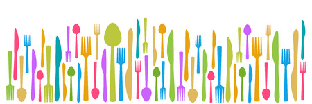 fork knife spoon: Fork Knife Spoon Abstract Colorful Horizontal