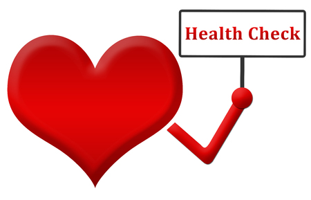 health check: Health Check Heart Holding Signboard