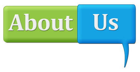 about us: About Us Green Blue Comment Symbol