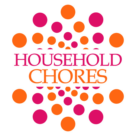 household tasks: Household Chores Pink Orange Dots Squares
