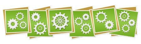 factory automation: Gears Green Blocks Stock Photo