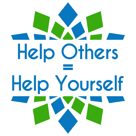 help: Help Others Help Yourself Green Blue Square Elements Stock Photo
