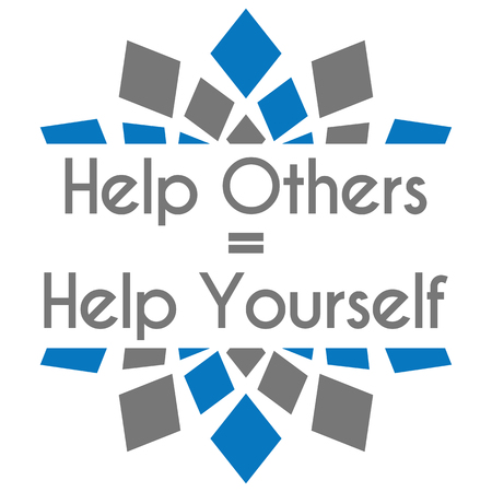 selfless: Help Others Help Yourself Blue Grey Square Elements Stock Photo