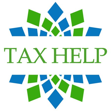 chartered accountant: Tax Help Green Blue Squares Background